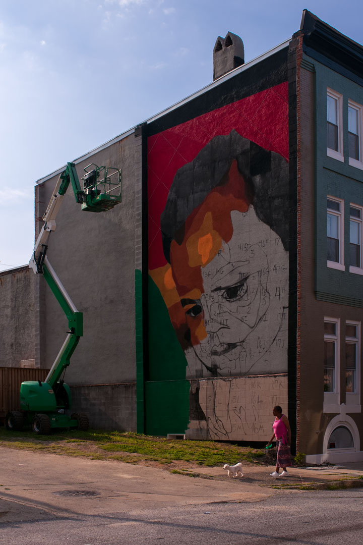 Day 2 of Betsy Casanas' mural for Open Walls Baltimore 2014
