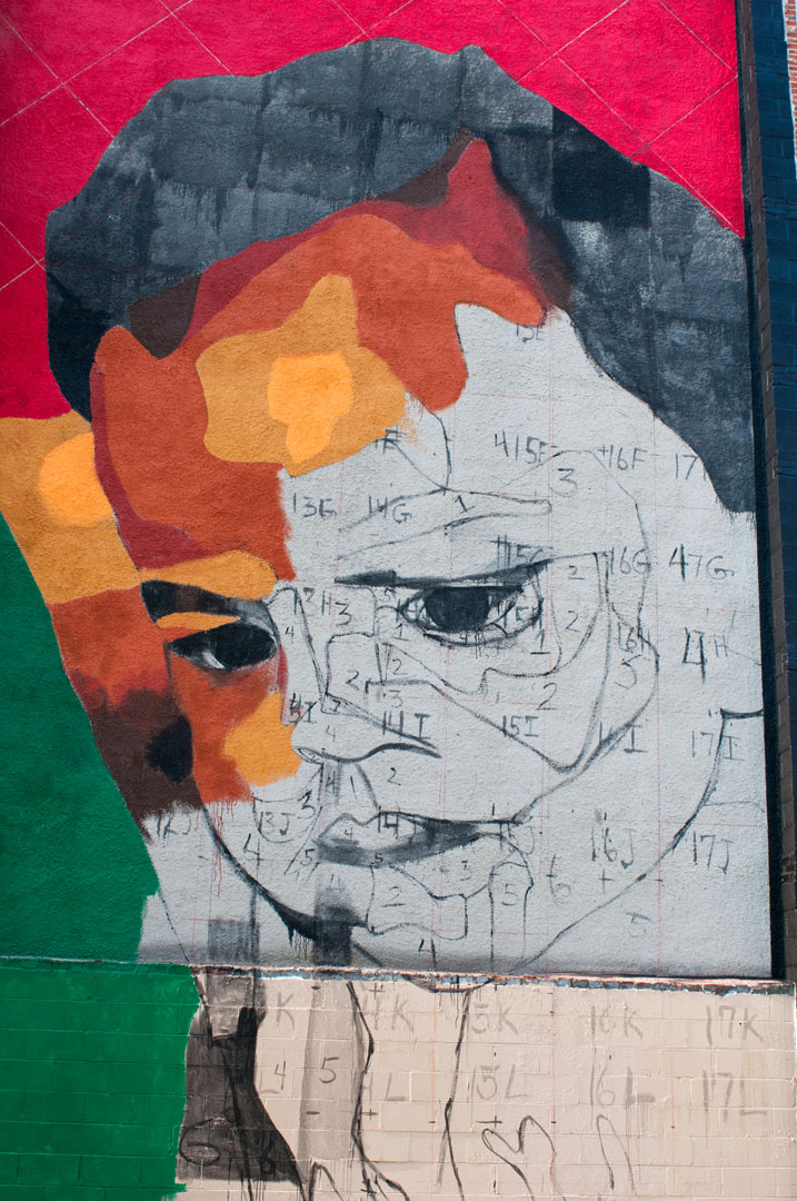 A detailed view of Betsy Casanas' mural for Open Walls Baltimore