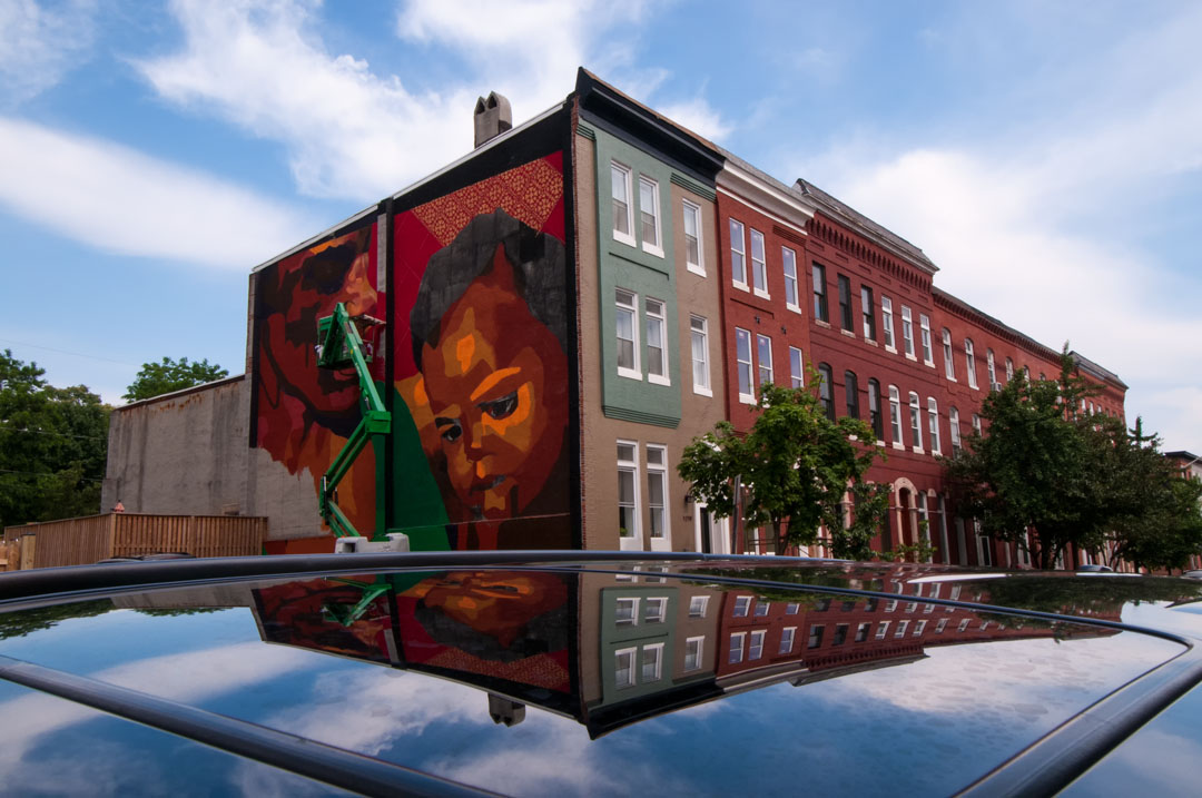 A reflection of N Calvert Street