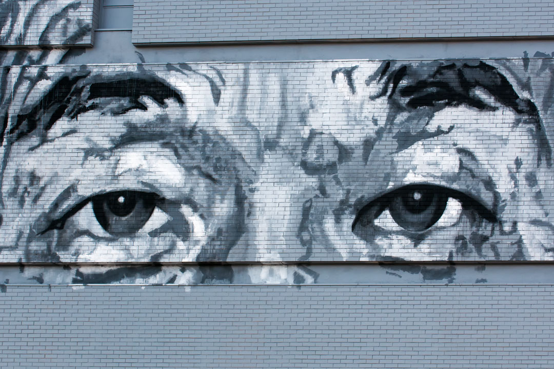 Expressive detail from ECB's Open Walls Baltimore 2014 mural