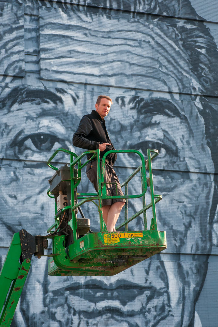Here's looking at you ... ECB and his mural for Open Walls Balti
