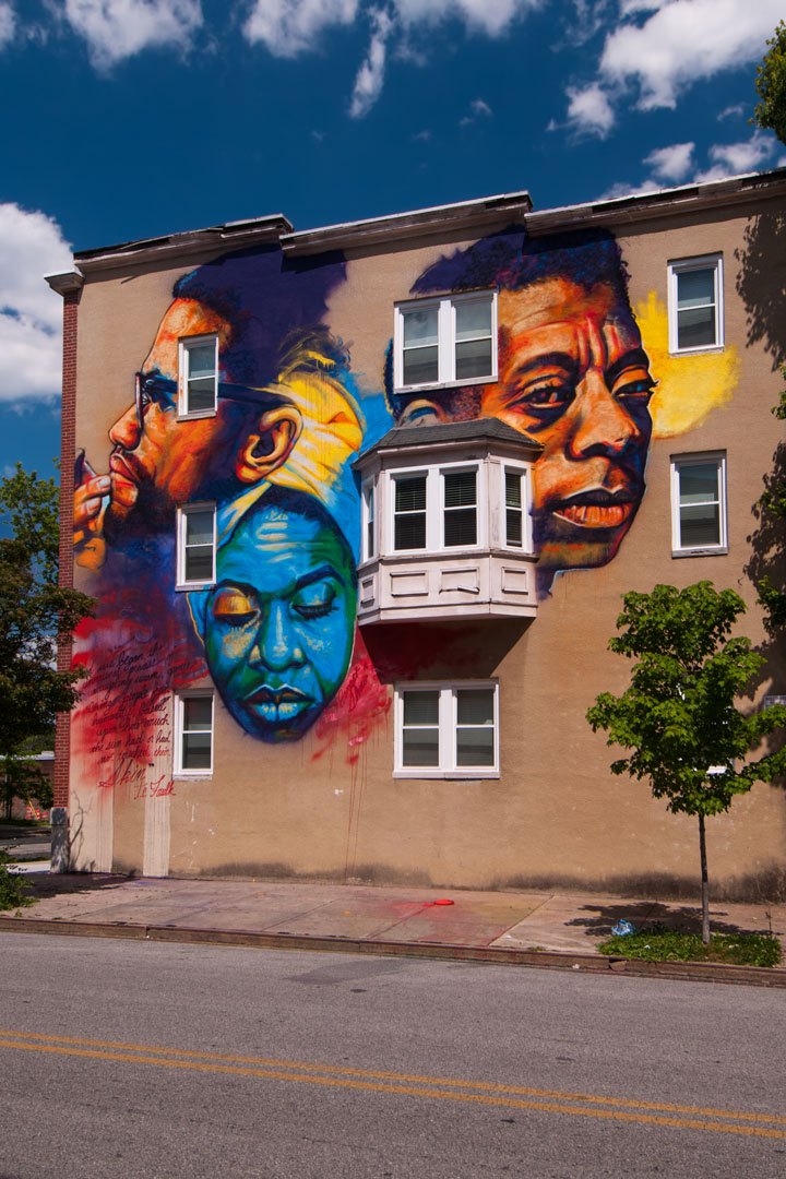 Ernest Shaw Jr's completed mural for Open Walls Baltimore 2014