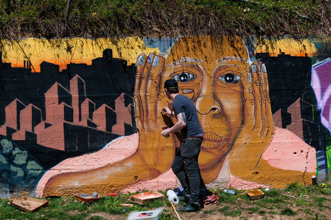 Nether at work at Fine Lines Mural Jam