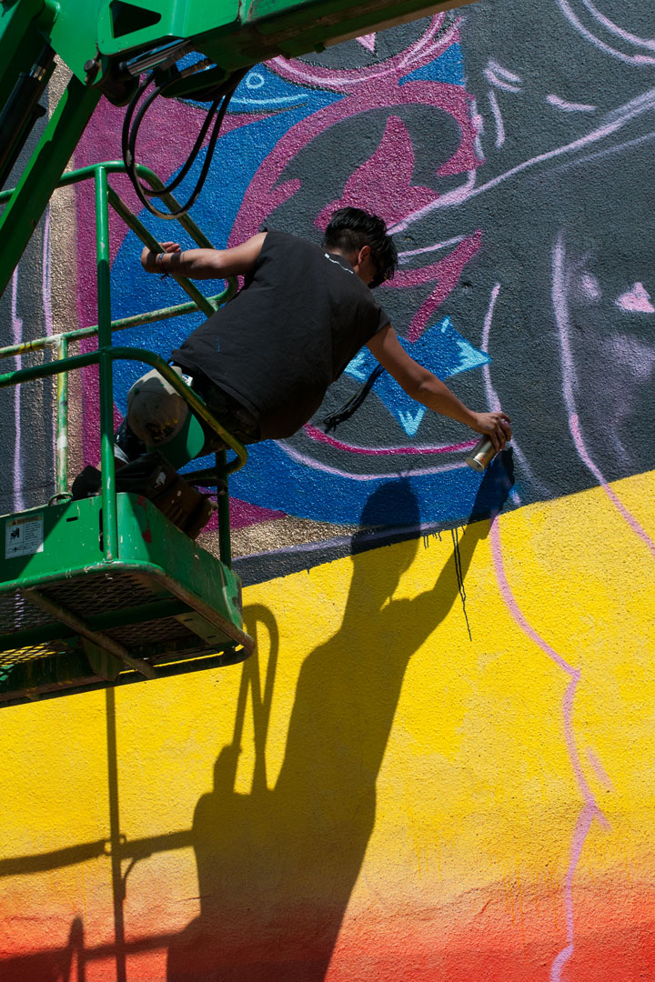 Hanging out - LNY at work on his mural for Open Walls Baltimore