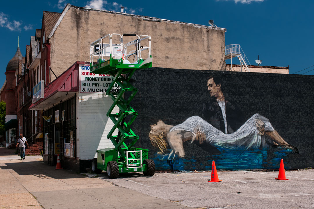 Almost complete - Logan Hicks' mural for Open Walls Baltimore 20