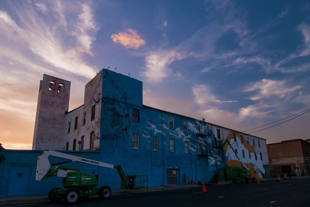 Sunset of day 2 of the Warner Street Mural project