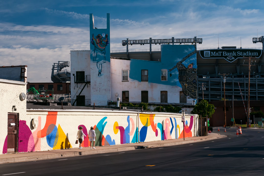 Early morning view of the Warner Street Mural