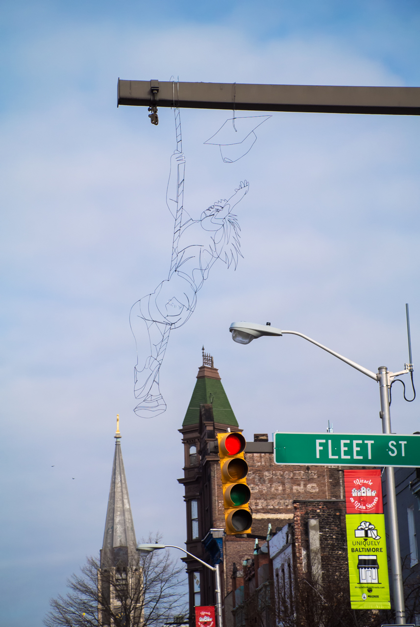 Reach, a wire sculpture by Reed Bmore in Fells Point