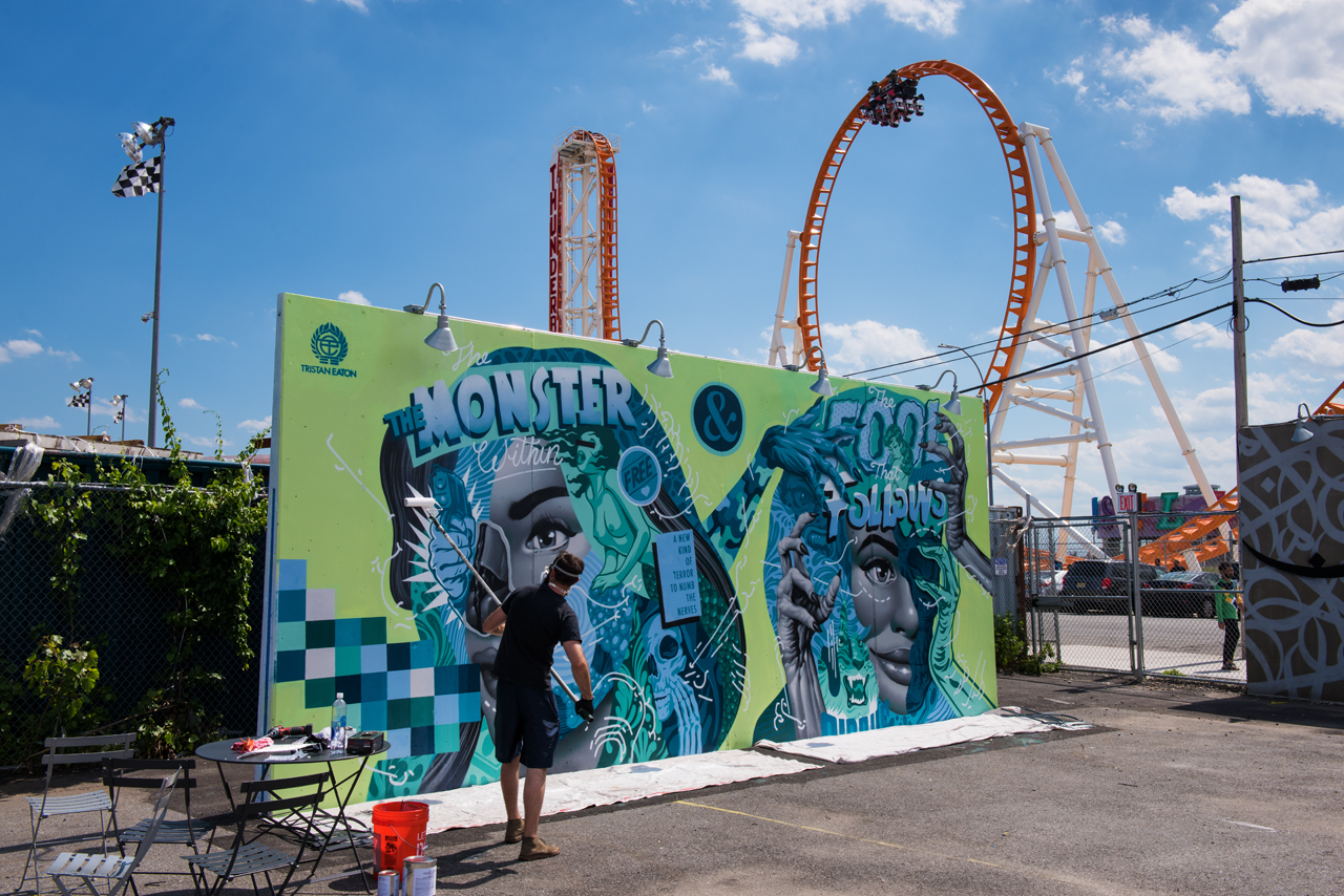 The Monster Within and The Thunderbolt above - Tristan Eaton for Coney Art Walls 2016