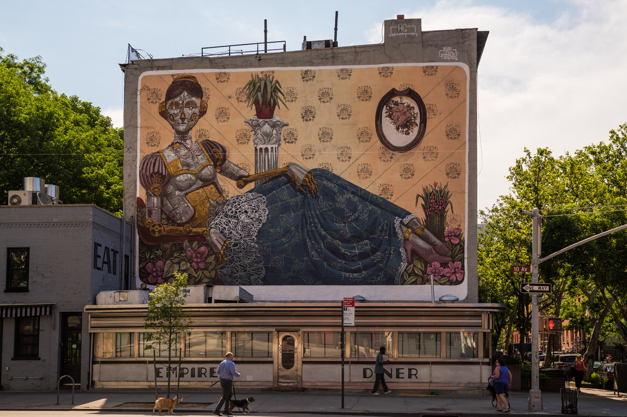 Atop Empire Diner in Chelsea ... mural by Pixel Pancho