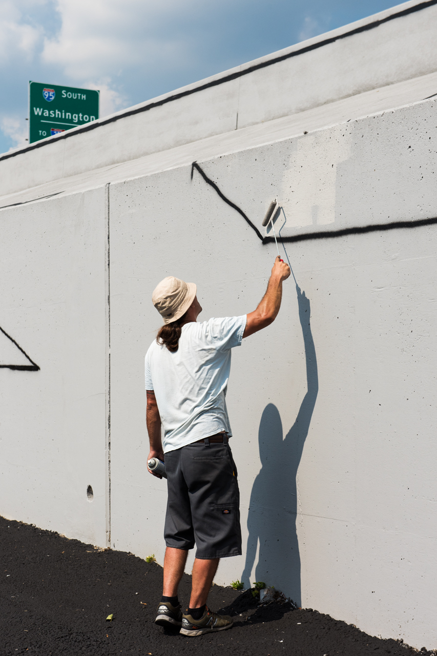 Painting over draft lines to firm up the outline