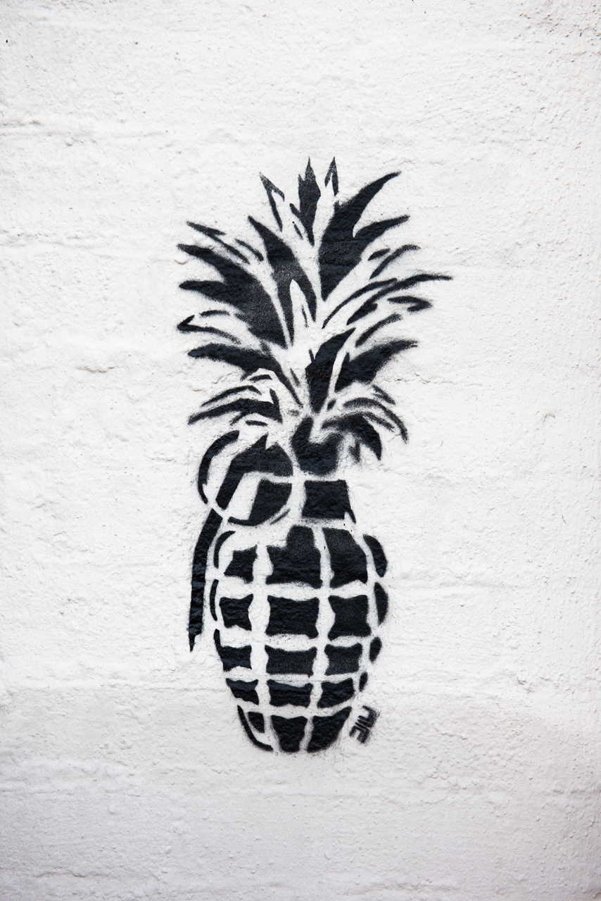 Pineapple grenade - stencil by unidentified artist