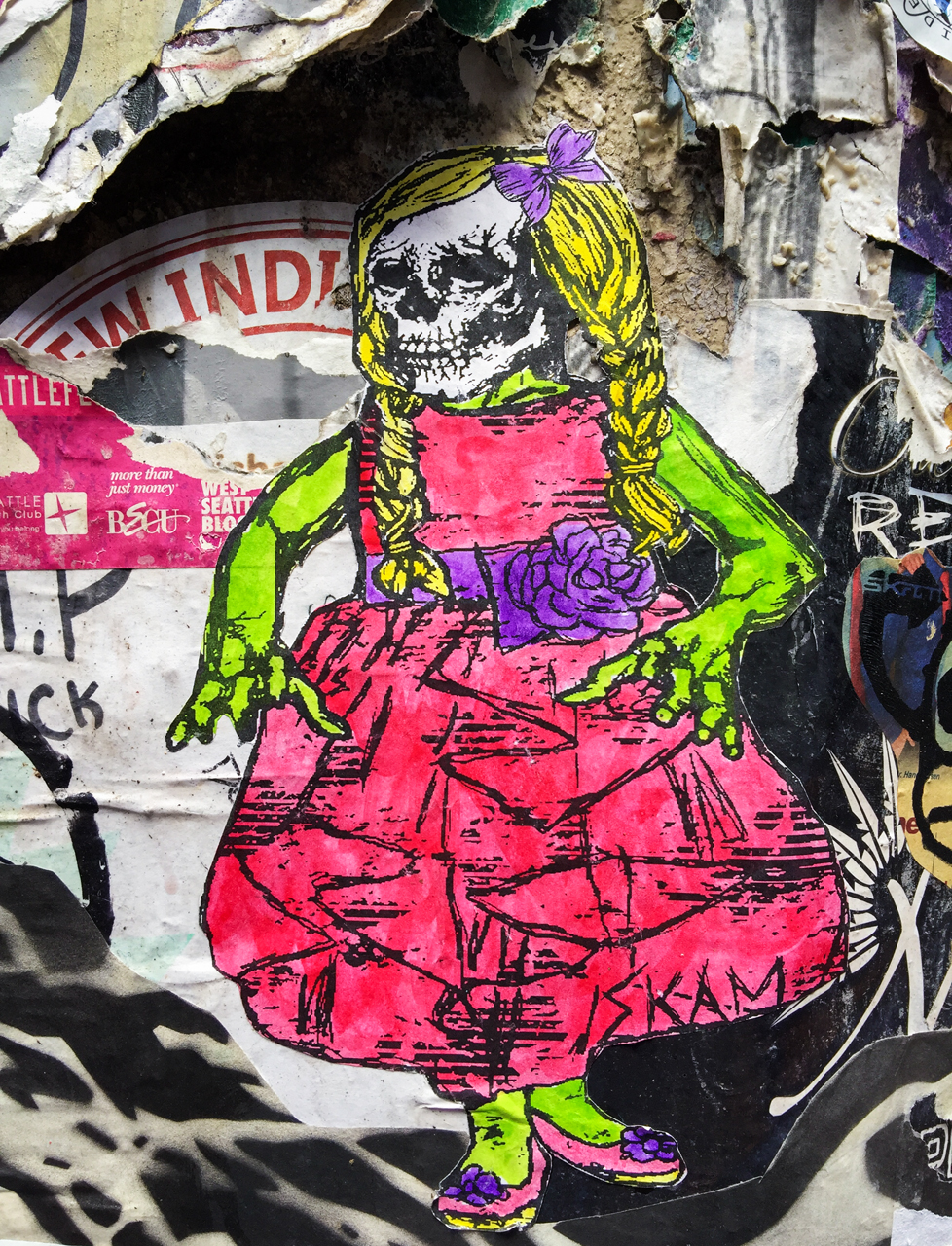 Well-dressed zombie child - wheatpaste by Skam