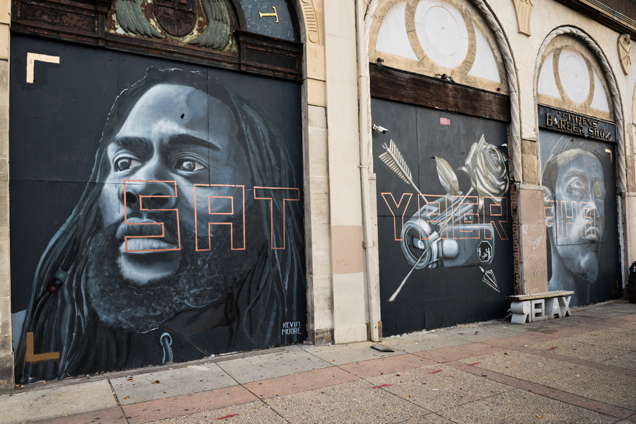 Headlining today's post ... new triptych mural by Nether in support of the Baltimore Rising exhibit at MICA