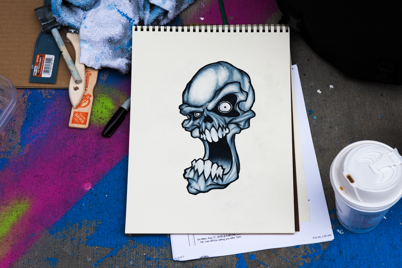Sketch for the screaming skull by Wally
