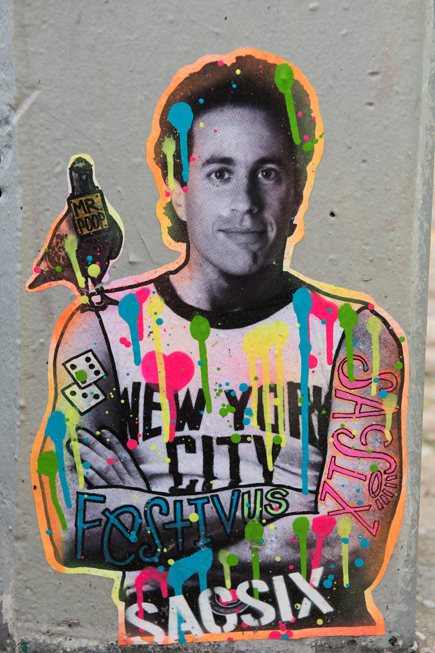 Jerry Seinfeld and Mr. Poop - wheatpaste by Sacsix
