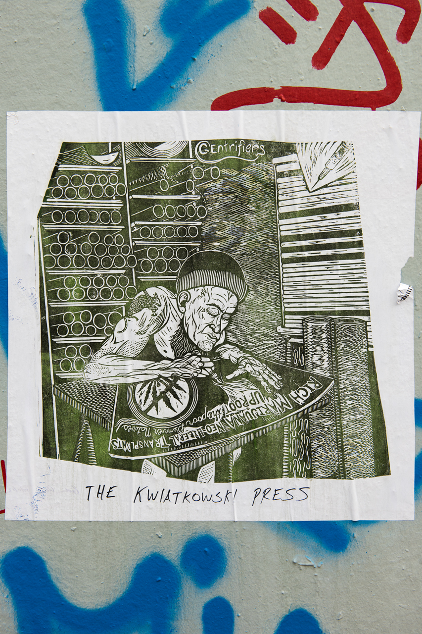 Gentrifiers - blockprint wheatpaste fromThe Kwiatkowski Press