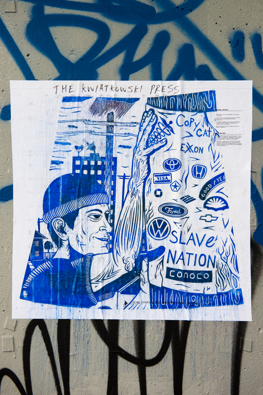 Slave nation - blockprint wheatpaste from The Kwiatkowski Press