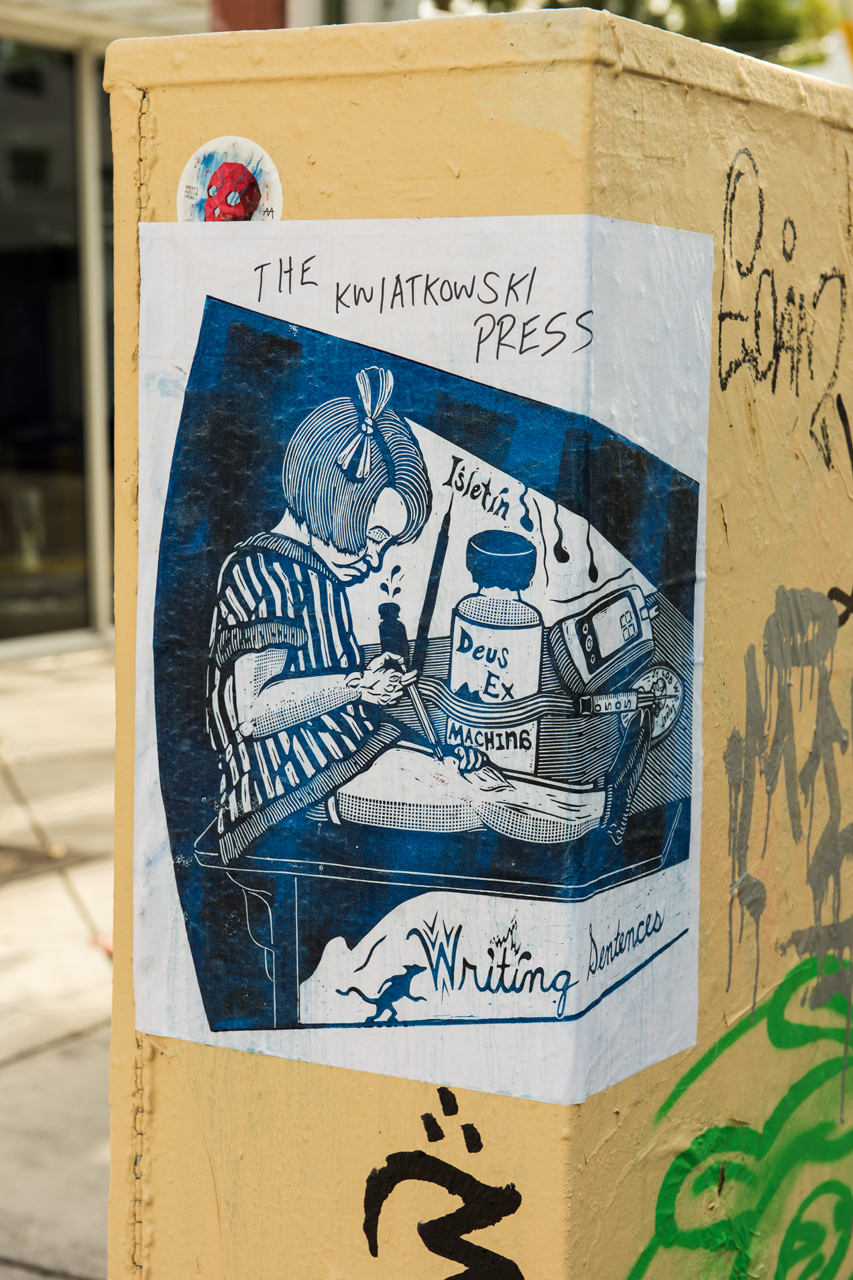 Writing sentences - blockprint wheatpaste from The Kwiatkowski Press