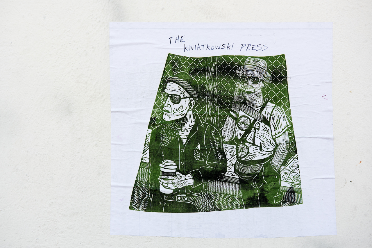 Blockprint wheatpaste from The Kwiatkowski Press