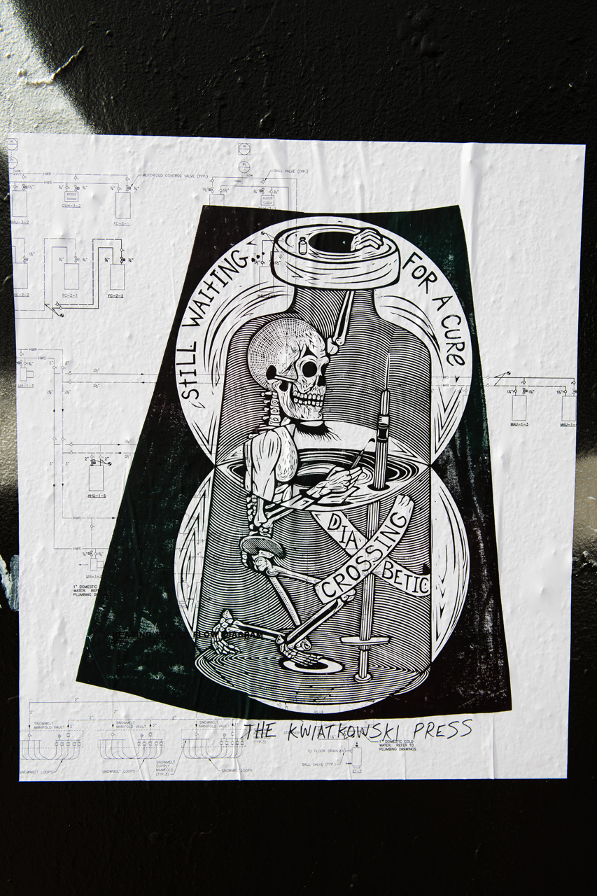 Still waiting for a cure - blockprint wheatpaste from The Kwiatkowski Press