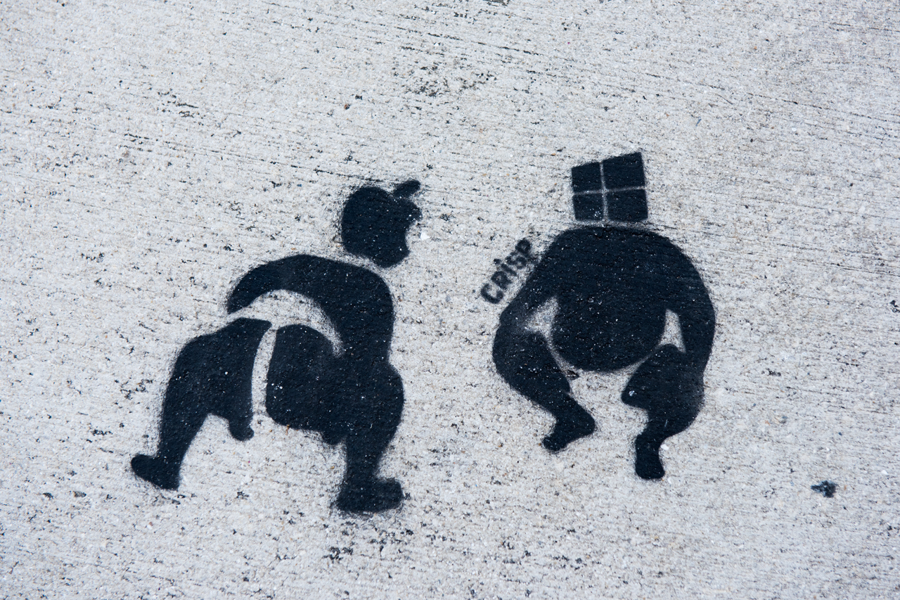 Apple vs Microsoft - stencil by Crisp