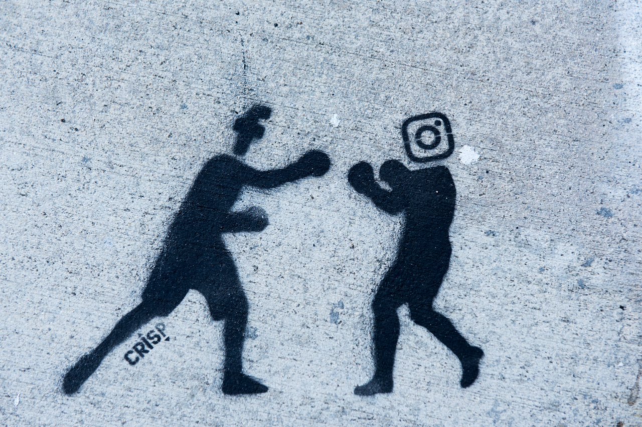 Facebook vs. Instagram - stencil by Crisp