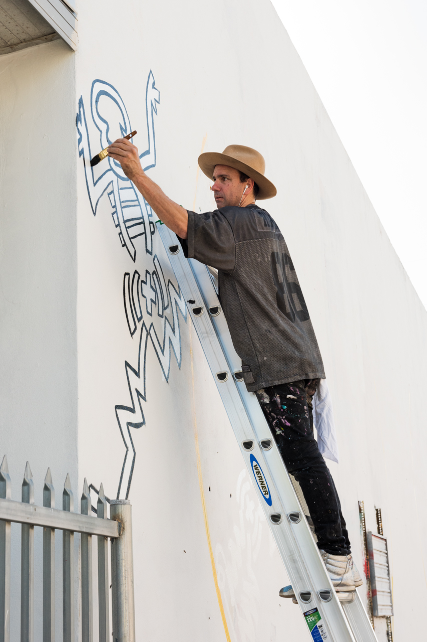 Danny Minnick at work during Art Basel 2016