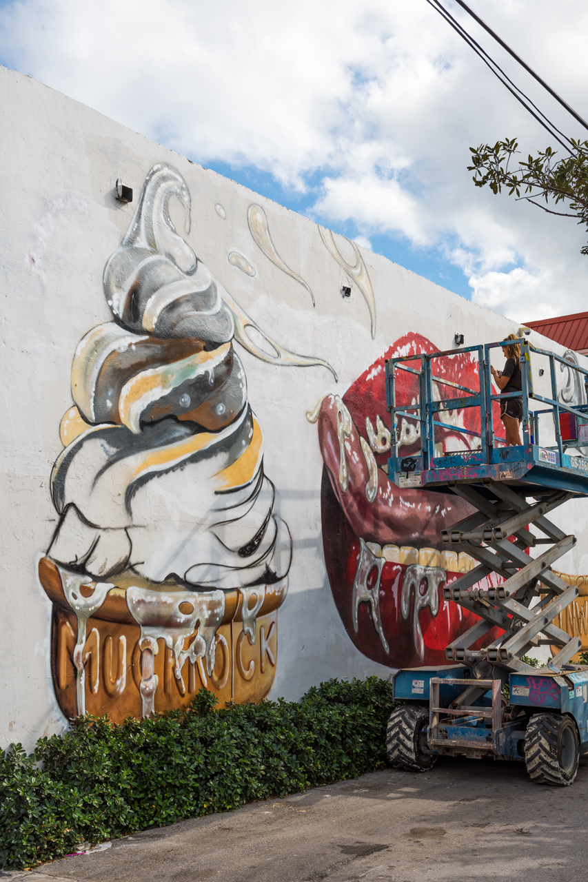 I scream, you scream - delicious ice cream mural is a work in progress by Jules Muck (@muckrock), Art Basel 2016