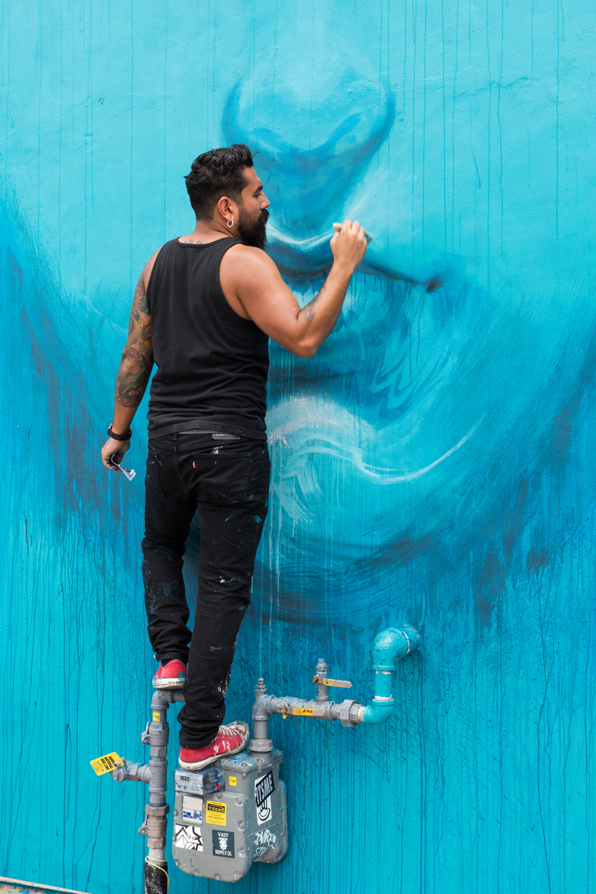 Artist Stefano Alcantara at work during Art Basel 2016