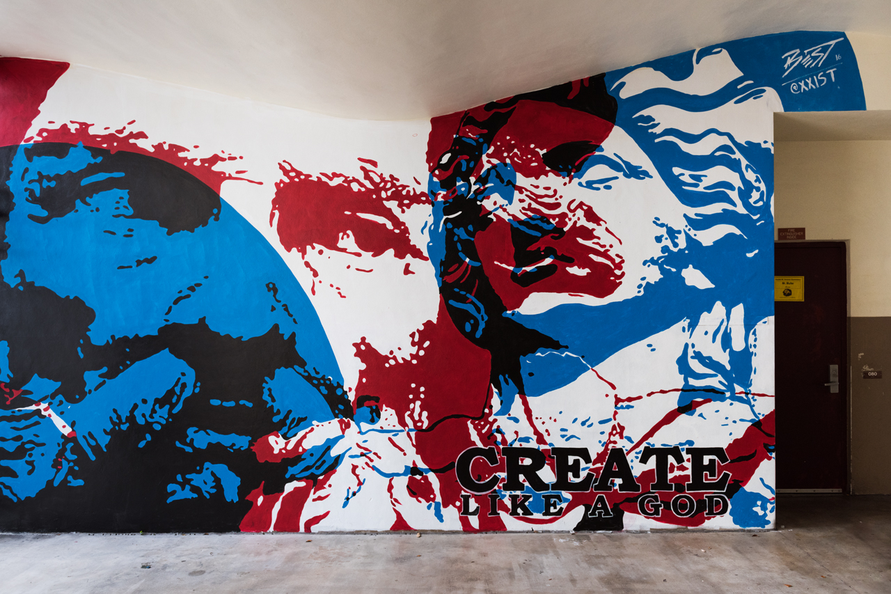 Create like a god - mural Richard Best painted for the RAW Project at the Eneida M. Hartner Elementary School in Miami