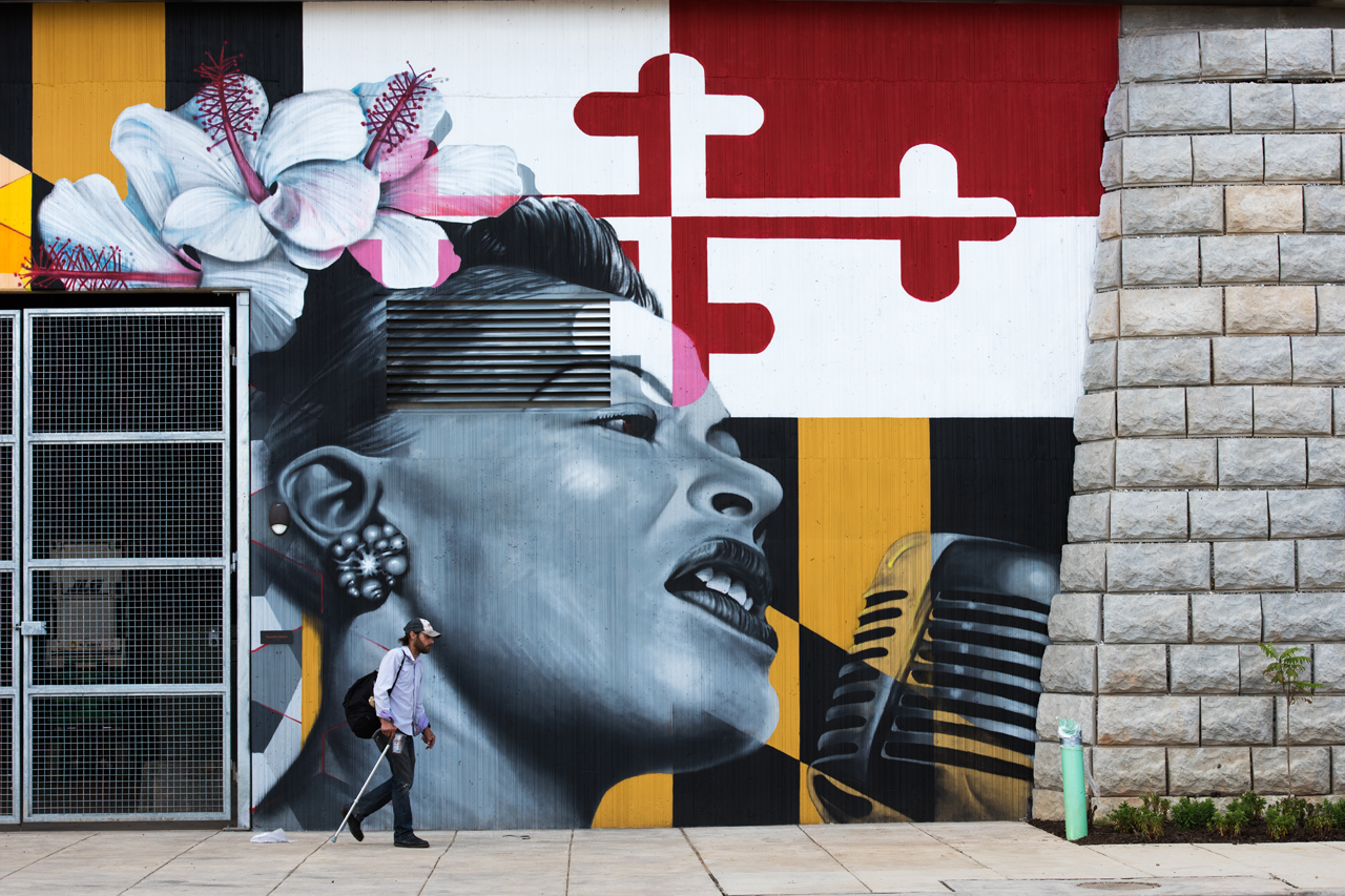 Vibrant new mural in locust point charm city streets for Billie holiday mural