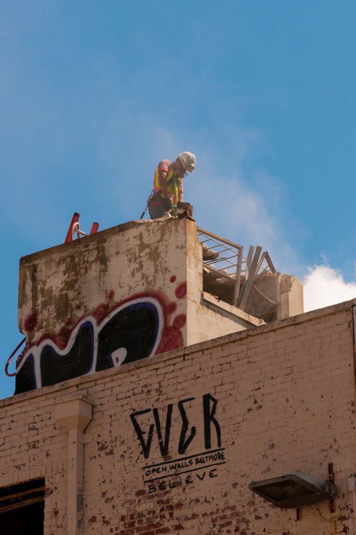 The lengths some folks will go to remove graffiti.