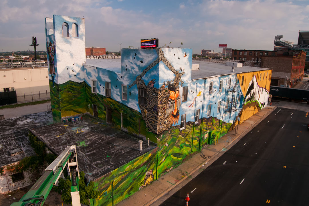 Birds eye view of the Warner Street Mural