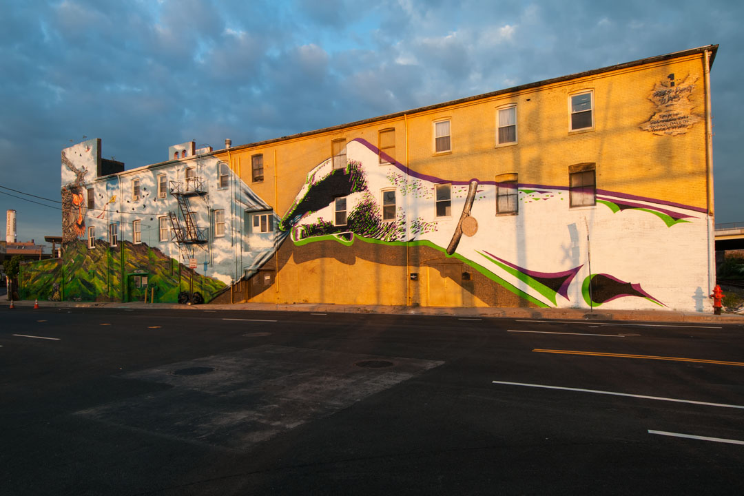 The day dawns on the completed Warner Street Mural