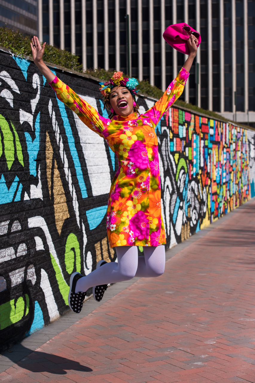 Jumping for joy at the 23rd Street mural