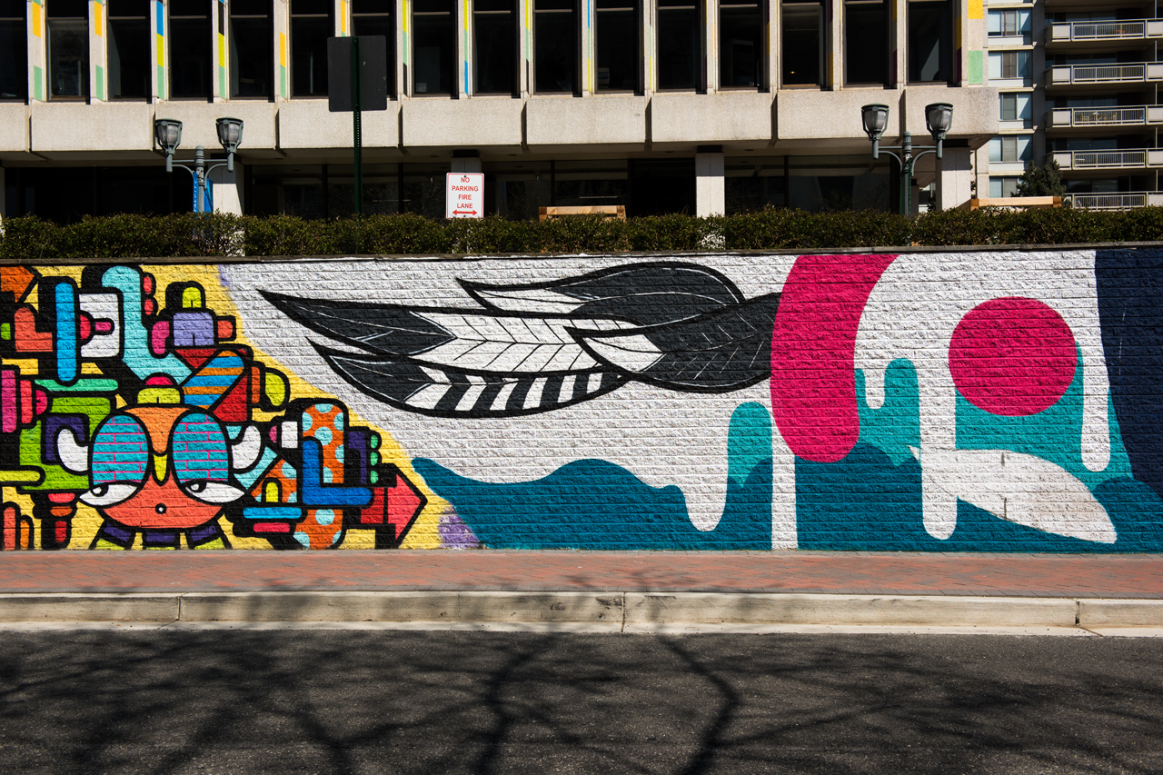 Juan Pineda & Miss Chelove - the west end of the 23rd Street mural is almost complete