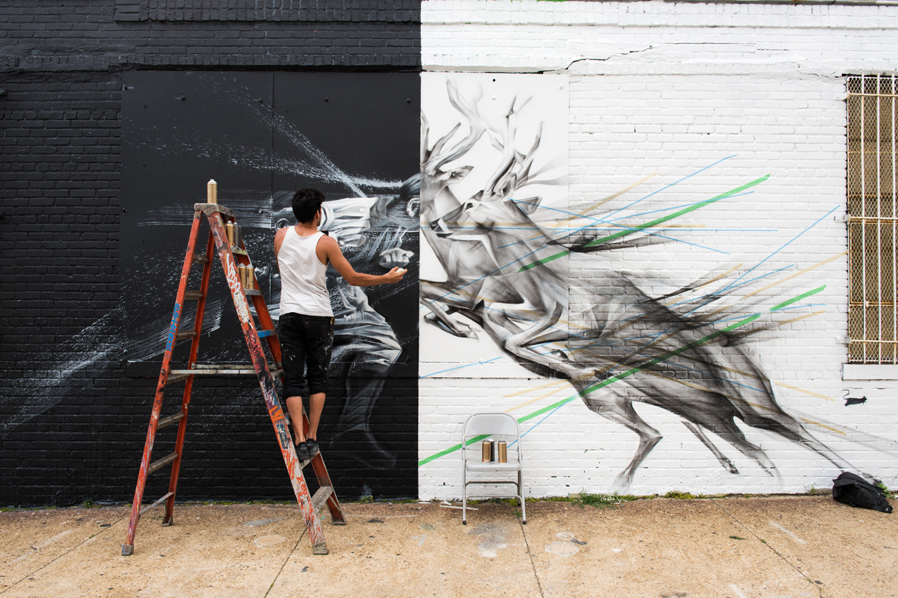 Adding in the human component of the mural