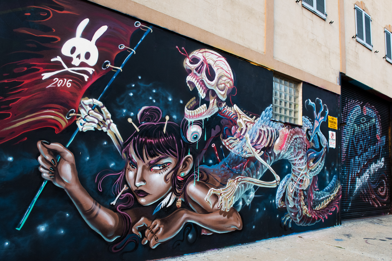 Collaboration by Nychos and Lolo for the Bushwick Collective