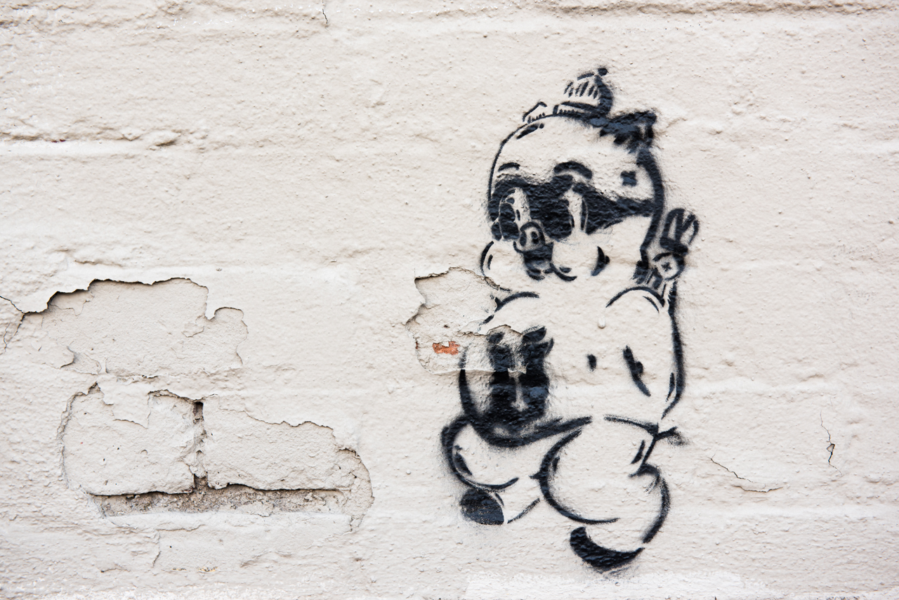 Little lettered pig - stencil by an unidentified artist