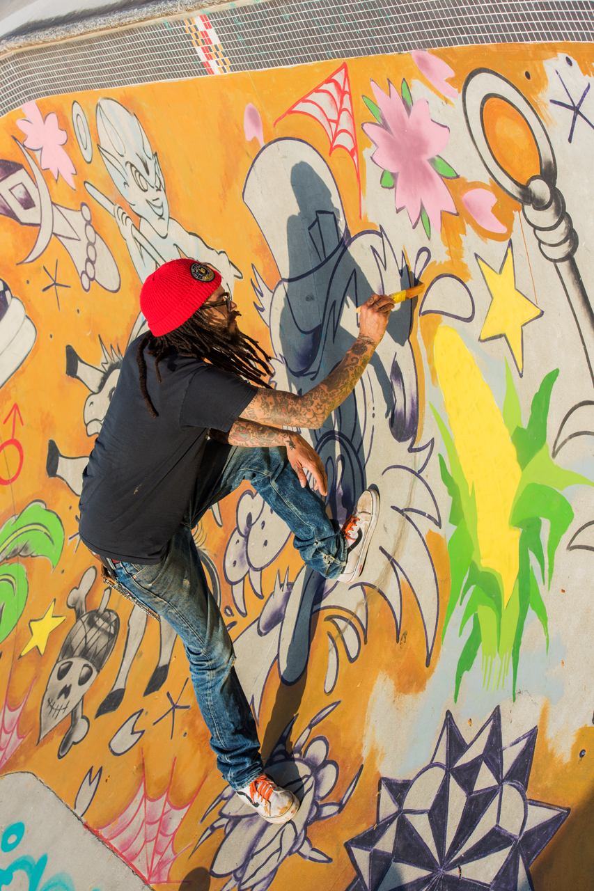 Adam Stab painting the Bowl at the Skatepark of Baltimore