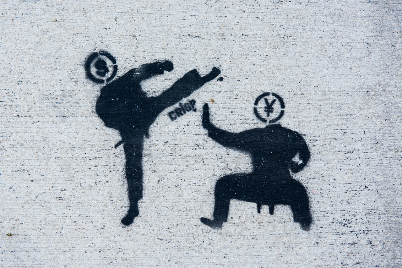 US Dollar vs the Chinese Yuan - stencil by Crisp