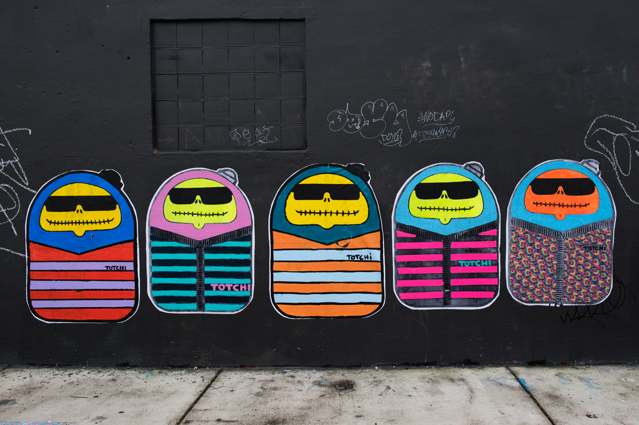 Colorful characters - wheatpastes by Totchi